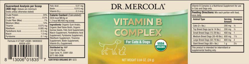 Dr Mercola Organic Vitamin B Complex for Cats & Dogs label